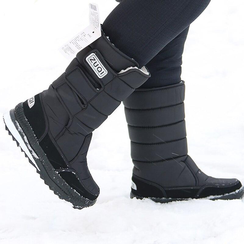 Platform Men Snow boots Waterproof Nylon Plus size 45-47 Mens Mid calf Boots Platform Plush Warm Shoes Winter Black