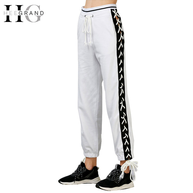 HEE GRAND Évider Lace Up Mode Pantalon Femmes de Haute Taille Lâche Harem  Pantalon 2018 Printemps e336935827d