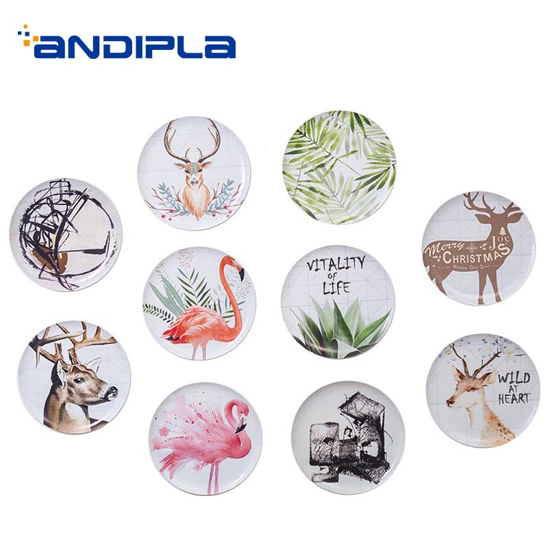 1PCS Nordic Style Wall Plate Ceramic Porcelain Art Pattern Round Hanging House Decoration Crafts Tableware Adornment Dish Saucer
