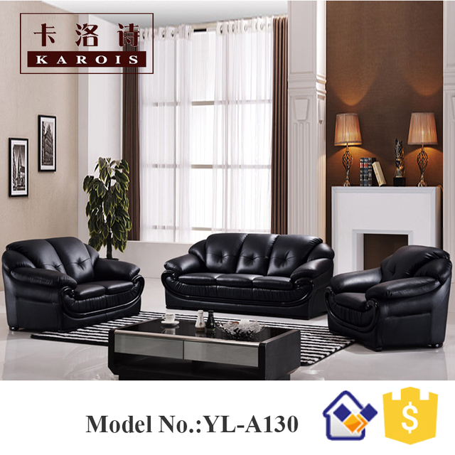 Love Seat Sofa Leather Set 3 2 1 Black