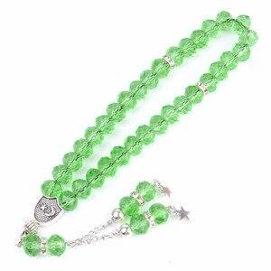 Image 5 - 33 תפילת חרוזים אסלאמי מוסלמי צמיד לנשים Tasbih צמידי אללה מוחמד תפילה ירוק קריסטל חרוזים תכשיטים סיטונאי