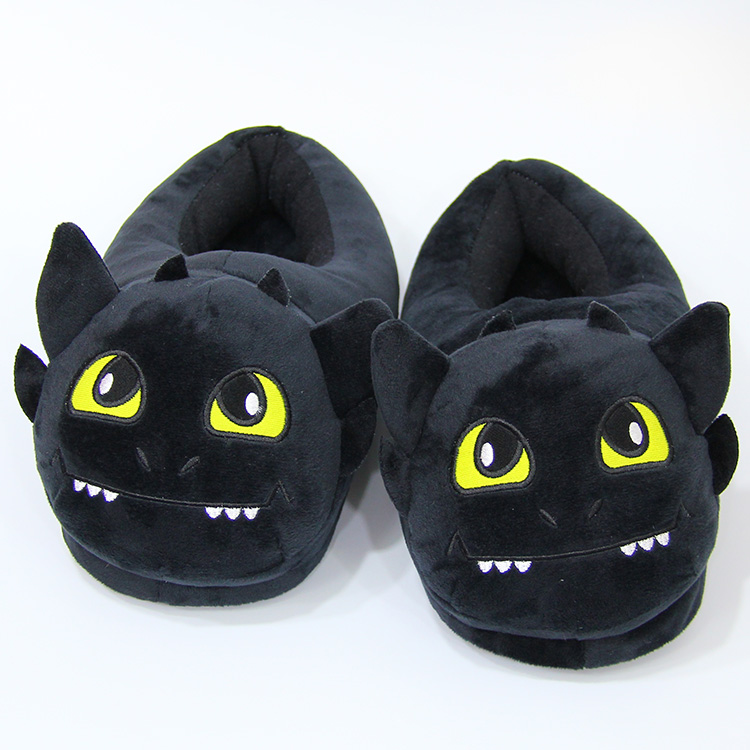 Anime Cartoon How to Train Your Dragon Toothless Home Plush Slippers House Winter Indoor Shoes Soft Stuffed Toys AP0714 anime cartoon monster mudkip flareon snorlax adult plush slippers home winter slippers plush toys