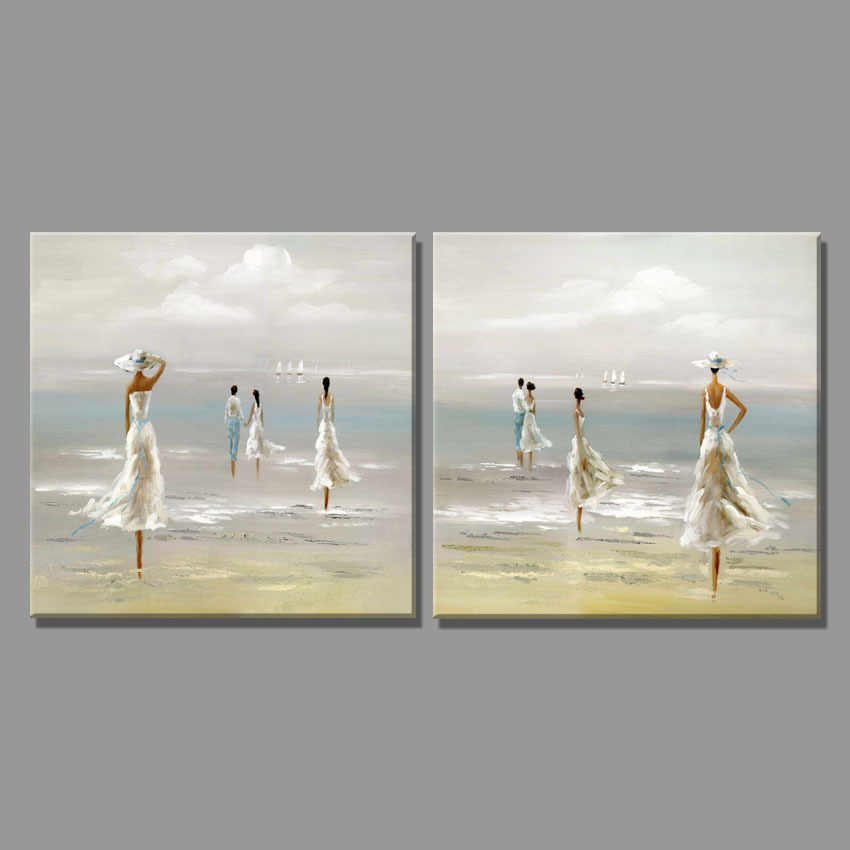 2 Piece sky The sea breeze blowing travel girl oil painting Seascape Home Decor Wall Painting Paintings for living room