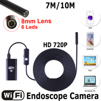 10M 8LED WIFI Endoscope Camera 8mm Lens 2MP 720P Snake USB Flexible Hard Wire Iphone Android