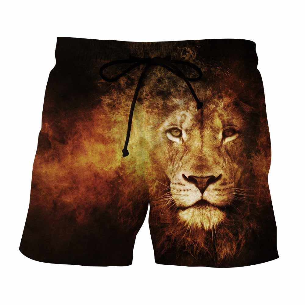 Summer Men Beach Shorts 2018 Lion Khaki Funny 3D Print Fashion Mens Bermuda Boardshorts Fitness Trousers Plus Size Quick Dry