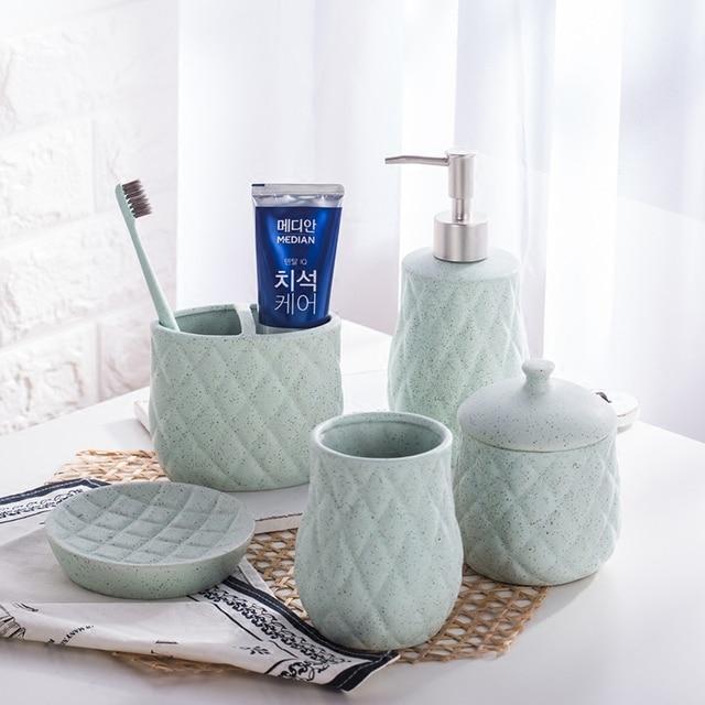 Plaid Ceramic Bathroom Set/soap Holder/soap Dispenser /Toothpaste Holders/Bathroom  Tumblers