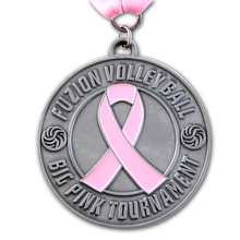Manufacturers pink ribbon medals custom antique silver round metal