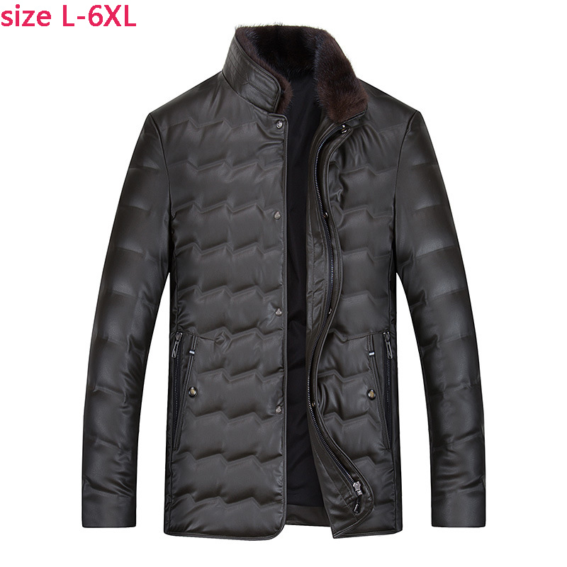 China Import Jackets Black Brown Men s Leather Jacket Fox Fur Collar Middle Aged Mens Winter