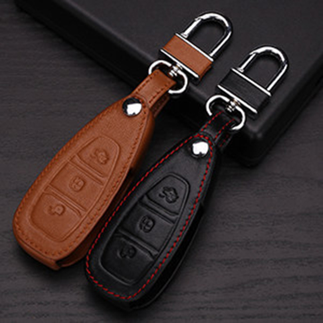 3 Buttons Leather Keychain Case For Ford Focus Escape Ecosport Fiesta Mondeo Smart Car Key Holder Case