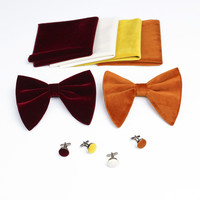 Feliavert Gold Velvet Bow Ties Set Women Plush Bowtie + Cufflink + Pocket Square Sets Gentleman Bow Tie Handkerchief Bow knot