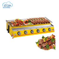 6 Burner LPG Gas BBQ Grill Stainless Steel Material Adjustable Height Glass/Steel Cover Yellow/Silver Color