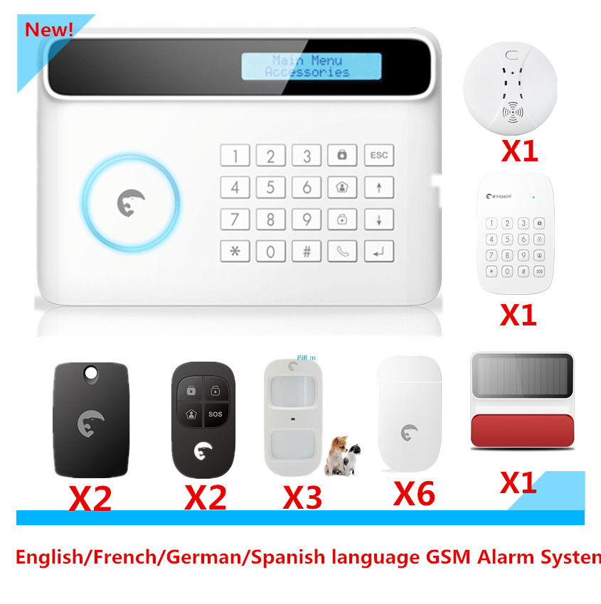 Free Shipping Etiger S4 GSM Alarm System Smart Home Burglar Security Alarm System with solar-powered Strobe Flash Siren кпб cl 219