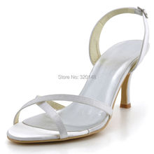 Woman Summer Sandals EP2105 Open Toe White High Heel  Satin Wedding Shoes Dress Pumps