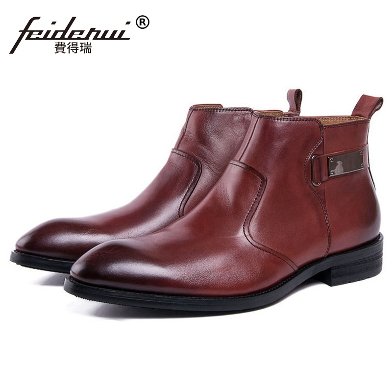 Luxury Brand Handmade Man Outdoor Wedding Shoes Male Genuine Leather Pointed Toe Men's Riding Cowboy Martin Ankle Boots DK79 krusdan luxury brand platform man handmad outdoor ankle boots genuine leather round toe classic men s cowboy martin shoes