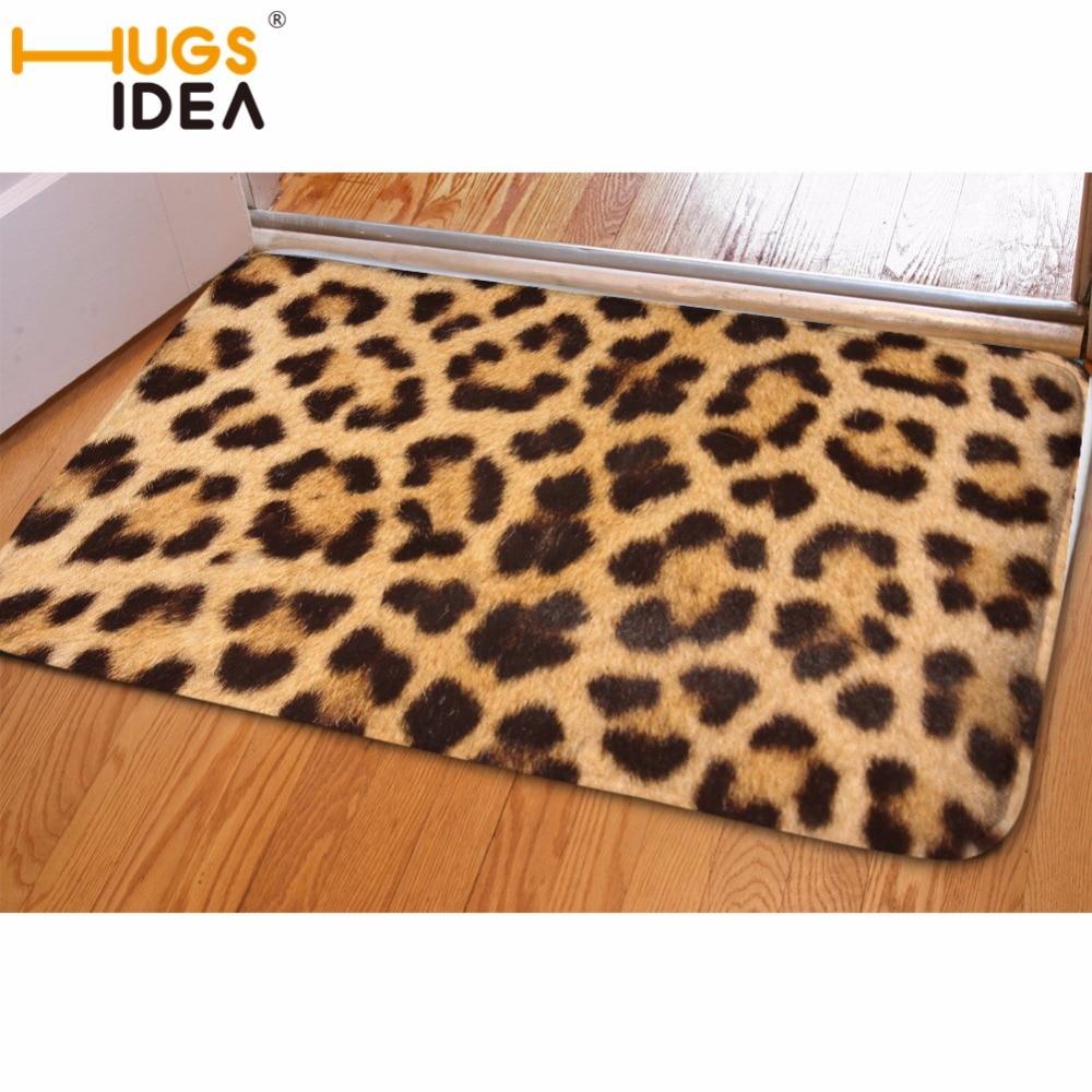 HUGSIDEA Leopardenmuster Flanell Teppich Bunten Klassischen Stil Wohnzimmer Schlafzimmer Teetisch Antislip Hause Rechteck Bodenmatte
