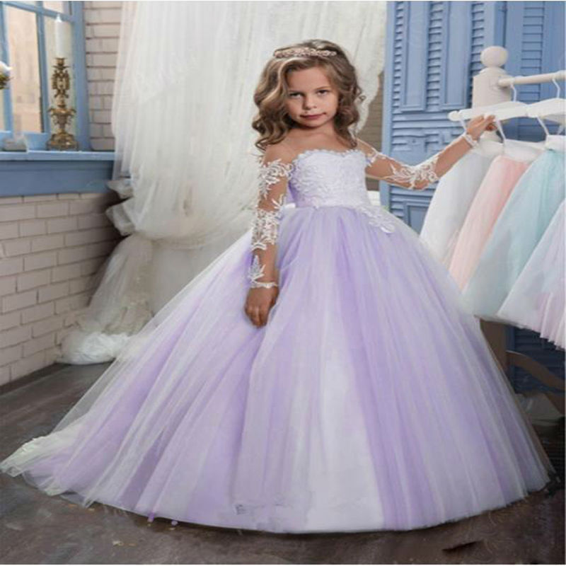 Long Sleeve Lace Mother Daughter Dresses Ankle-Length Pageant Dresses for Girls glitz Ball Gown Flower Girl Dresses For Weeding цена 2017