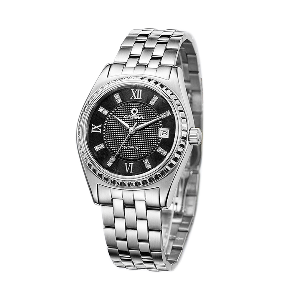 Men Sport Casual Mechanical Watch Luminous Waterproof Wristwatch Stainless Steel Strap Roman Numbers Dial   LXH salmon shark sport watch stainless steel silver case white 3d dial round mens luminous silicone strap casual wristwatch sh169