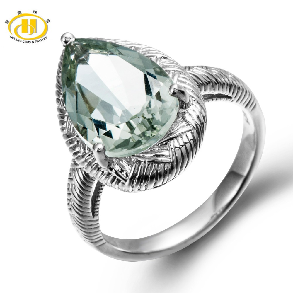 Hutang Solid 925 Sterling Silver Natural Green Amethyst Cocktail Ring Gemstone Fine Jewelry women's Party hutang cocktail ring natural green fluorite solid 925 sterling silver women s rings party fine jewelry