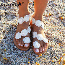 2021 New Summer Ladies Shoes Women Sandals White Flowers Flat Sandals Women Bohemian Casual Beach Shoes for Woman 42 43 WSH3390