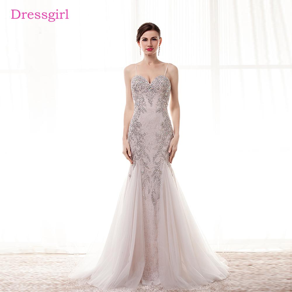 2019   Prom     Dresses   Mermaid Spaghetti Straps Tulle Crystals Beaded Elegant Long Women   Prom   Gown Evening   Dresses   Robe De Soiree