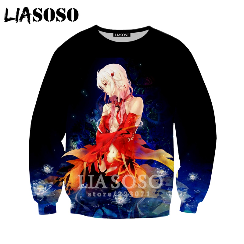LIASOSO 2019 New Men Women Fashion Hoodies 3D Print Anime Guilty Crown Sweatshirt Casual Unisex Long Sleeve Top Pullover A182-07