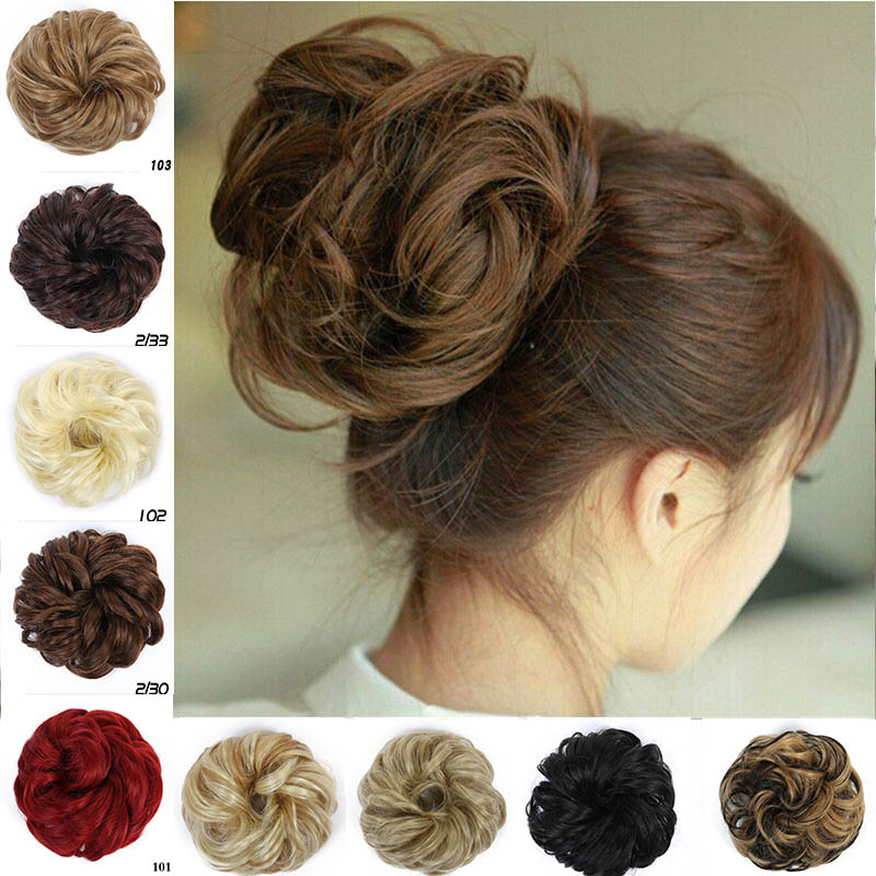 MUMUPI Hair Bun Extensions Wavy Curly Messy Hair Extensions Donut Hair Chignons Hair Piece Ponytail Extensions   headwear