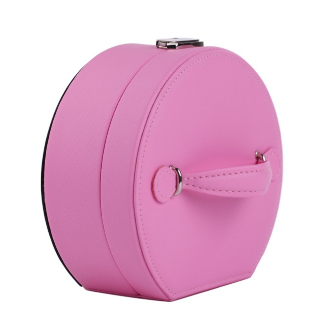 Portable Faux Leather Jewelry Box For Girls Princess Simple Gift Small Mini Rings Earrings Jewelry Lock