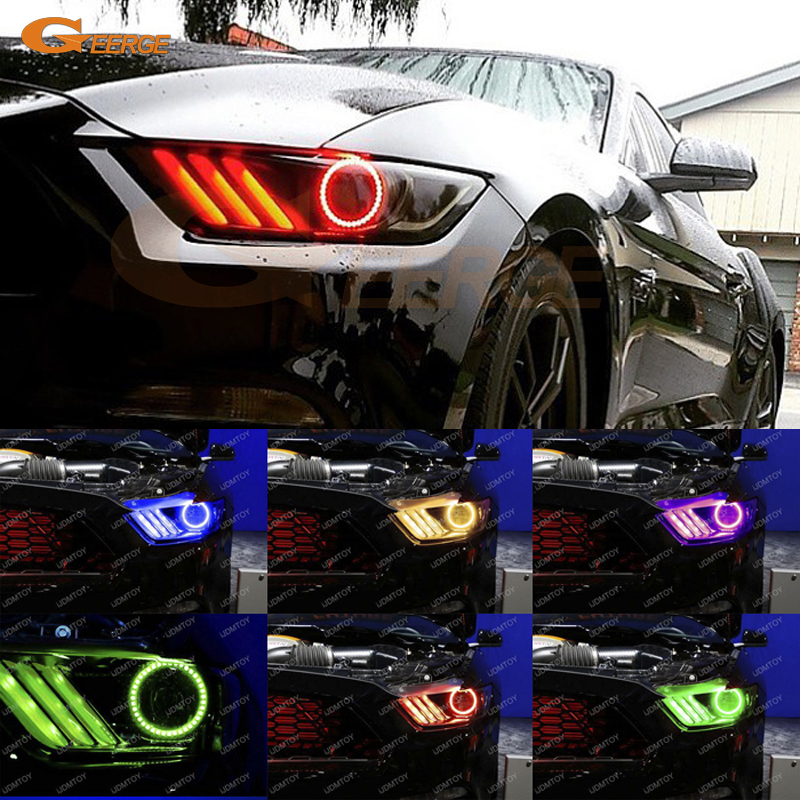 For Ford Mustang 2015 2016 headlight Excellent Angel Eyes Multi-Color Ultra bright RGB LED Angel Eyes kit Halo Ring ford mustang v6 2011