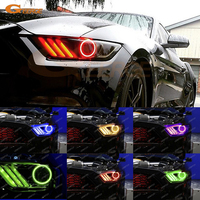 For Ford Mustang 2015 2016 headlight Excellent Angel Eyes Multi Color Ultra bright RGB LED Angel Eyes kit Halo Ring