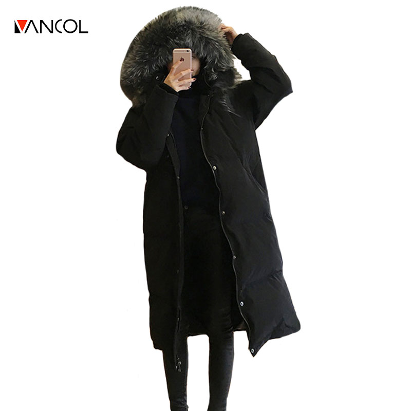 vancol 2016 loose female x long warm winter jacket with hood and fur kurtka puchowa thick cotton down jackets and coats women
