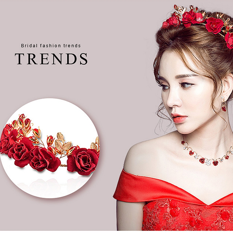 New Fashion Women Bride HeadDress Wedding Jewelry Set With Resin Head Red Flower Rhinestone Necklace Earrings 2018 Hot Trendy rhinestone necklace with earrings set page 7