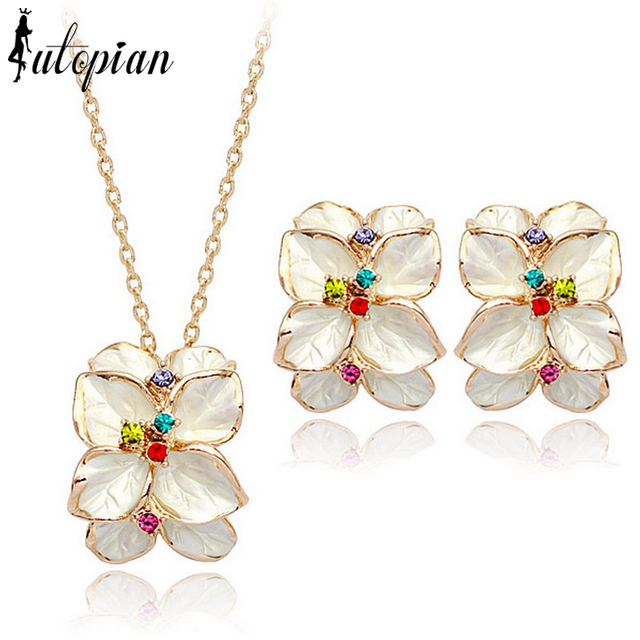 Iutopian Brand Elegant Flower Rose  Color Jewelry Set With Austrian Crystal Stellux High Quality #RG20697