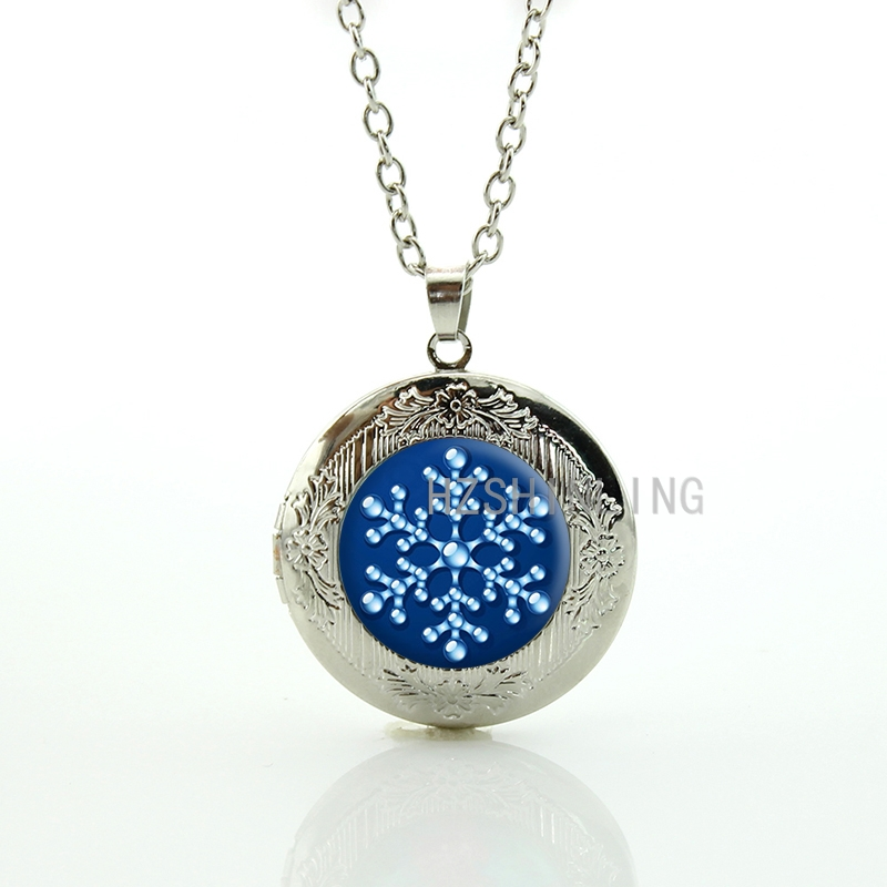 Novelty Water Drop Snowflake locket pendant women Christmas Snowflake statement necklace charm wedding bridal jewelry gift CM169