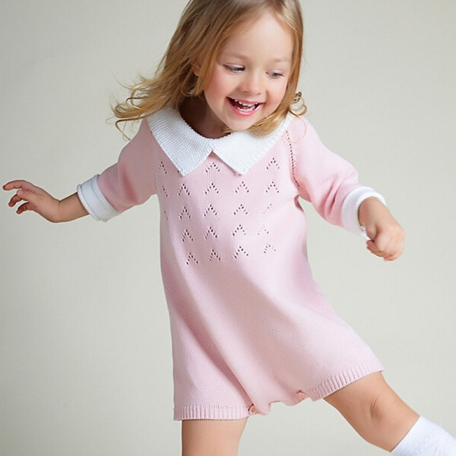 19ba071ac baby pink green knit Romper children's clothing infant cute sweet lovely  clothes overalls kids three quarter