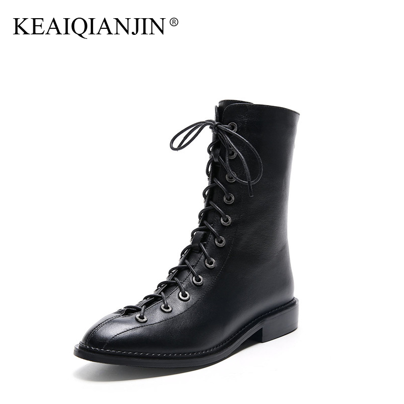 KEAIQIANJIN Woman Lace Up Ankle Boots Autumn Winter Black Punk Boots Plus Size 33 - 40 Shoes Genuine Leather Martens Boots 2017