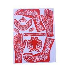 Color Random 1 Sheet India Henna Temporary Tattoo Stencils For Hand Leg Arm Feet Body Art Decal 28.5x38cm