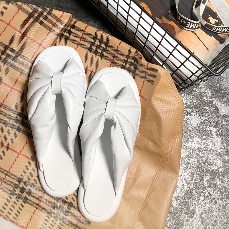 2018 Hot Spring Summer Shoes Woman Flats Cozy Open Toe Bow Knot Lazy Slippers Designer Sheepskin Slides Woman Outside Slippers 2017 new summer shoes woman slippers cozy leather classic slippers designer woman outside slippers tide woman shoes slippers