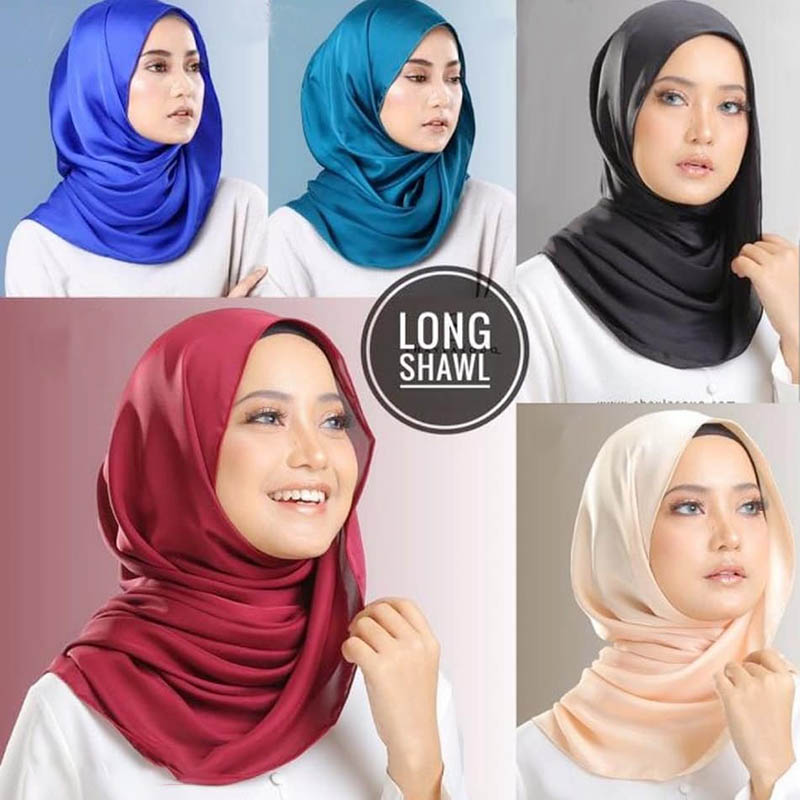 Women s plain malaysia satin silk hijab scarf Solid color long muslim scarves headband turban maxi