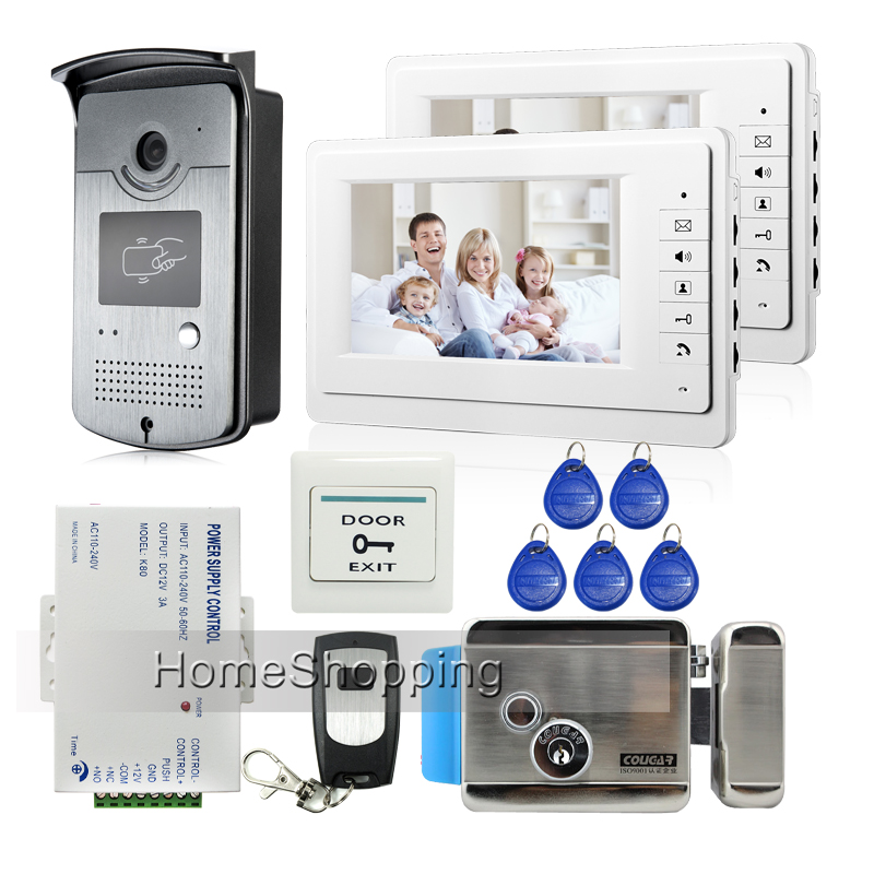 Free Shipping New Home 7 Video Intercom Door Phone System 2 Monitors + RFID Card Reader Camera + Door Lock In Stock Wholesale free shipping brand new home 7 inch video intercom door phone system 2 monitors rfid camera long 250mm strike lock in stock