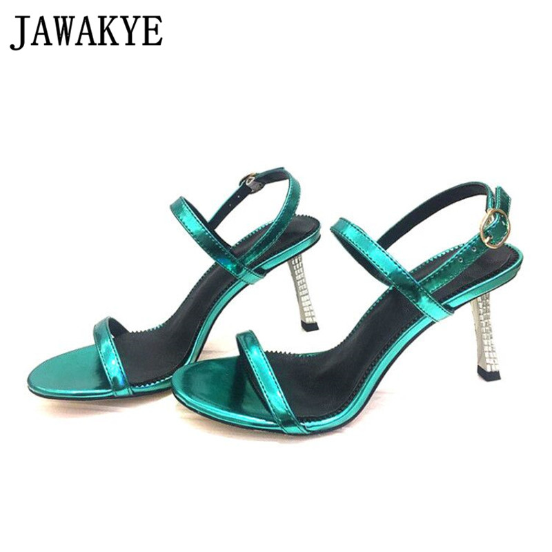 2019 Sexy Rhinestone thin heel sandals women open toe leather woman shoes New narrow band ankle strap dress sandals women summer2019 Sexy Rhinestone thin heel sandals women open toe leather woman shoes New narrow band ankle strap dress sandals women summer