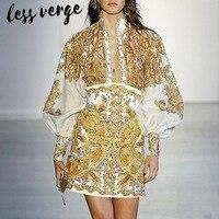 Lessverge/винтажный комплект из двух предметов, женская одежда, повседневный летний топ с длинными рукавами, блузка с высокой талией в стиле бох...