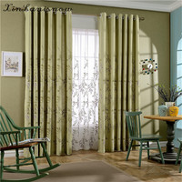 The New High Quality Flax Cotton Embroidery Fabric Willow Green Countryside Curtain For Living Dining Room
