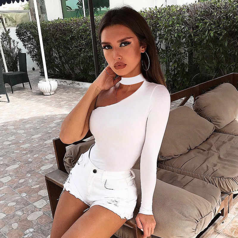 2019 Spring Rompers Women Jumpsuits Fashion Solid Regular Long Sleeve One  shoulder Skinny Sexy Hollow Out b8d638bc1