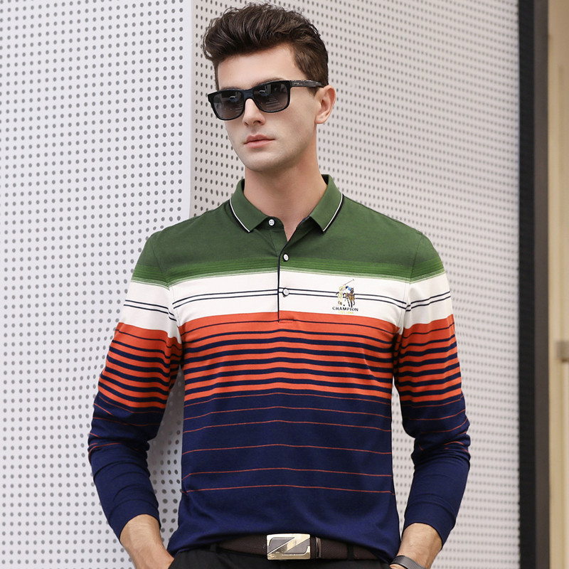 Spring autumn new arrival long sleeve men's   polo   shirt business casual striped breathable homme camisa plus size XXXL 6628