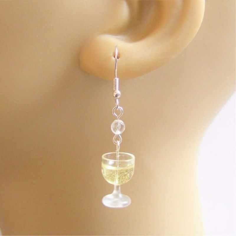 Brincos de vinho, brincos em miniatura de alimentos, joias artesanais de miniatura para comida, presente de joia para vinho e amante