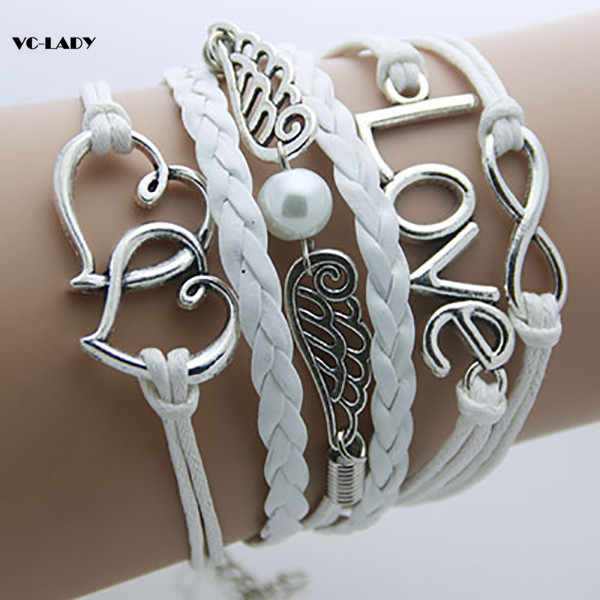 Fashion Charm Vintage 2018 Multilayer Braided Wax Rope Bracelets Gift For Women   AB001