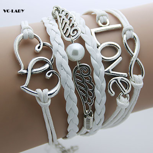Fashion Charm Vintage 2018 Multilayer Braided Wax Rope Bracelets Gift For Women AB001(China)