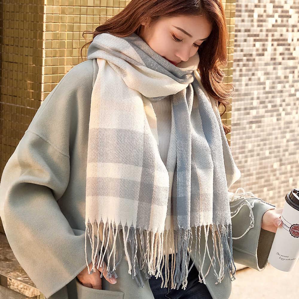 VEITHDIA 2019 الخريف الشتاء الإناث الصوف منقوشة وشاح المرأة أوشحة كشميرية المشابك واسعة طويلة شال التفاف بطانية دافئة Tippet