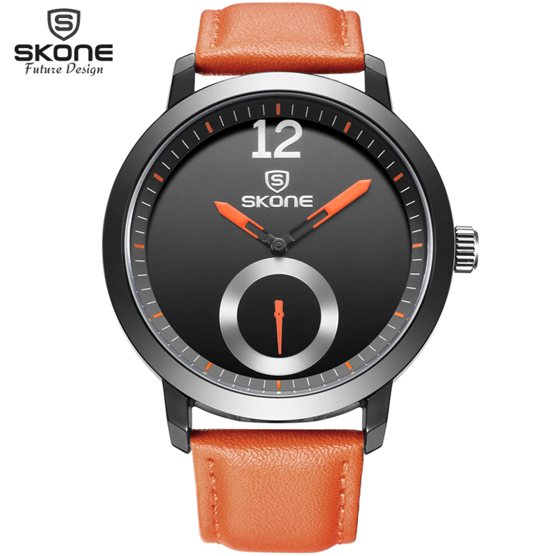 Men Brand SKONE genuine Watches 30m waterproof leather women & Mens Watch Business Casual Fashion Quartz Watches montre homme