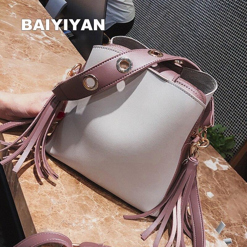 2018 Summer Fashion Exquisite Women Bucket Bag Tassel Messenger Bag High Quality Shoulder Bag Simple Crossbody Bag Tote